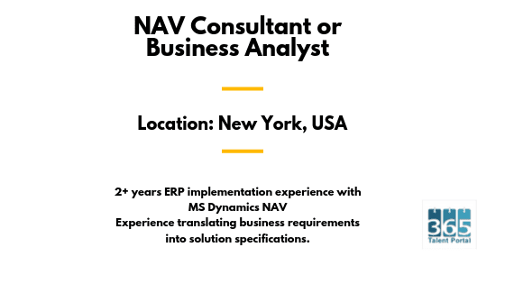NAV Consultant or Business Analyst